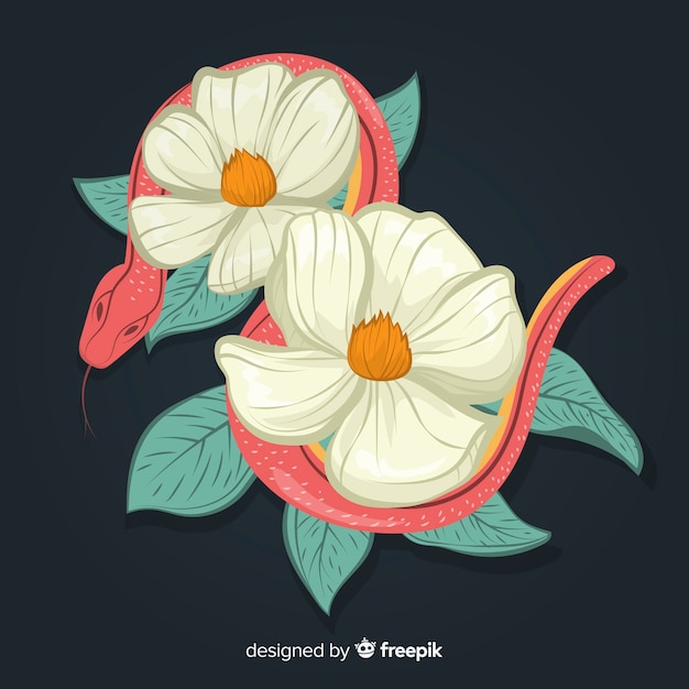 2d serpente con fiori Vettore gratuito