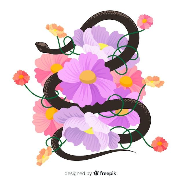 2d serpente con sfondo di fiori Vettore gratuito