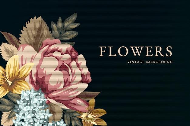 2d sfondo fiori vintage Vettore gratuito