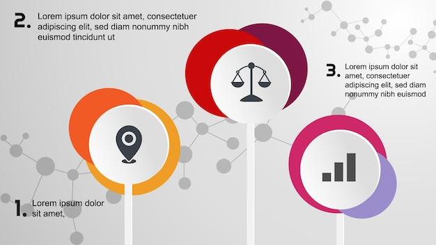 3 affari di infographic del cerchio Vettore Premium