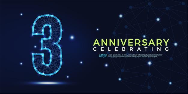 3 anni anniversario celebrando numeri astratti poligonali Vettore Premium