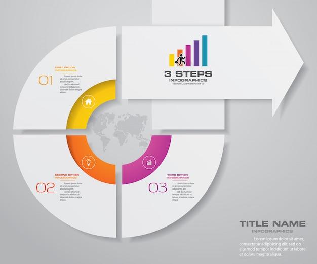 3 passi infographics elemento grafico della freccia. Vettore Premium