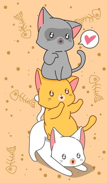 3 piccoli gatti in stile cartoon. Vettore Premium