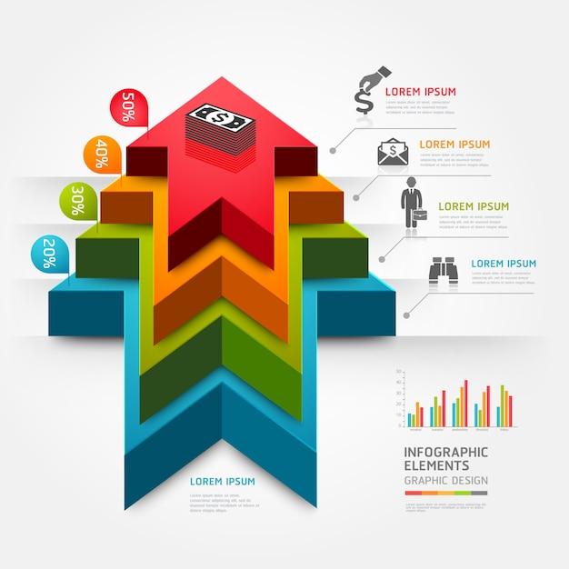 3d aumentano l'affare del diagramma della scala della freccia. Vettore Premium