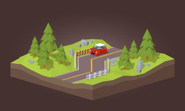 3d auto rosso lowpoly che viaggia sulla strada Vettore Premium