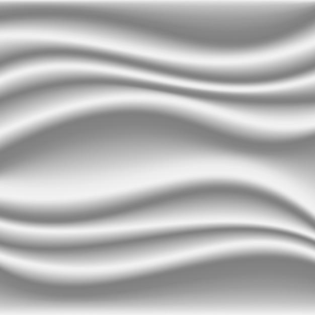 3d fondo di seta bianco realistico dell'onda, illustrazione di vettore Vettore Premium