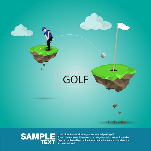 3d isometrica sport golf player sportivo giochi. raccolta piana del giocatore di golf dell'illustrazione isometrica piana del giocatore di golf dell'illustrazione dell'atleta di vettore 3d Vettore Premium