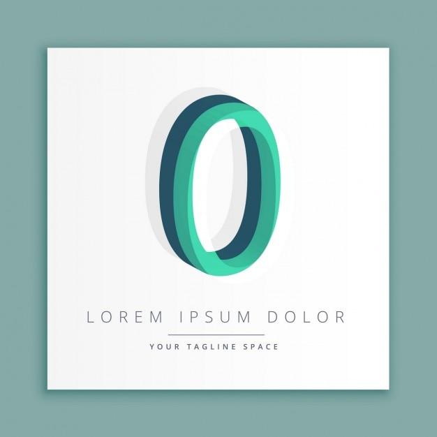 3d logo stile astratto con il numero 0 Vettore gratuito