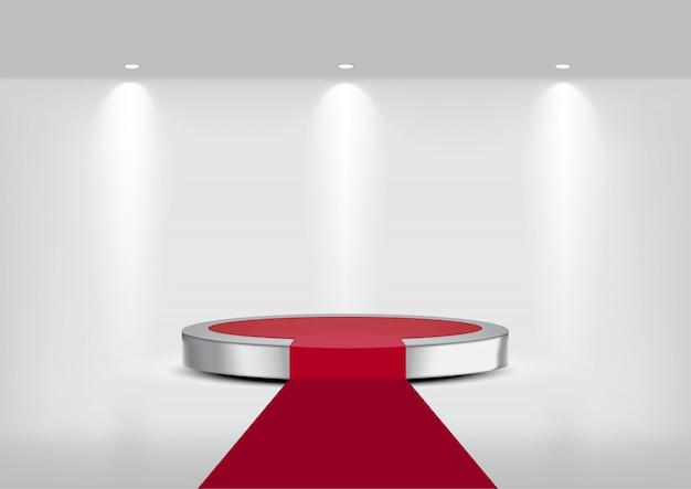 3d mock up realistico tappeto metallico sul palco del palco per lo spettacolo Vettore Premium