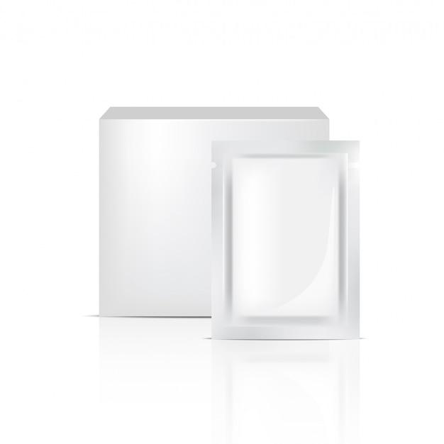 3d mock up sachet realistico e scatola per l'imballaggio del prodotto cosmetico Vettore Premium