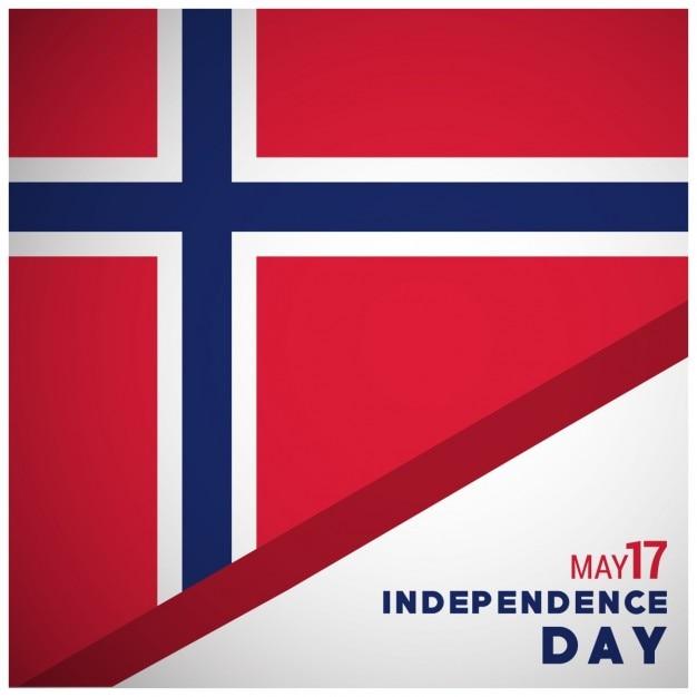 3d norvegia bandiera con independence day tipografia Vettore gratuito