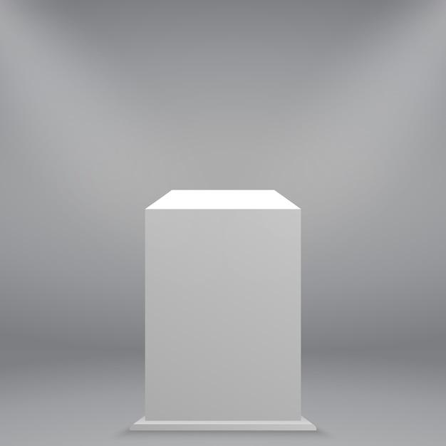 3d realistico bianco vuoto museo piedistallo o podio Vettore Premium