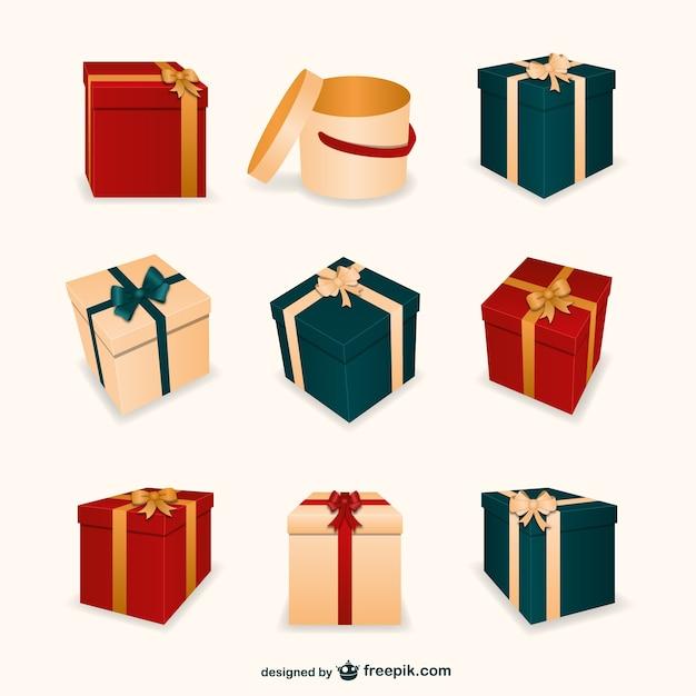 Scatole Per Regali Di Natale.3d Regali Di Natale Scatole Scaricare Vettori Gratis