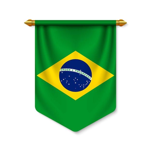 3d stendardo realistico con bandiera Vettore Premium