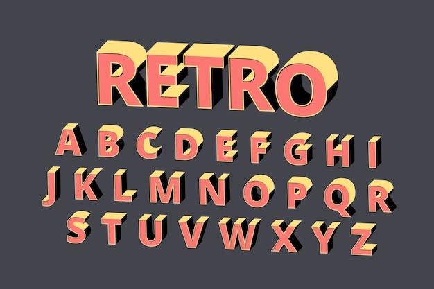 3d stile retrò alfabeto Vettore gratuito