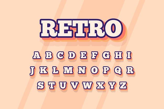3d stile retrò per alfabeto Vettore gratuito