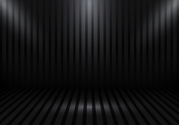 3d svuotano il fondo nero della stanza dello studio Vettore Premium