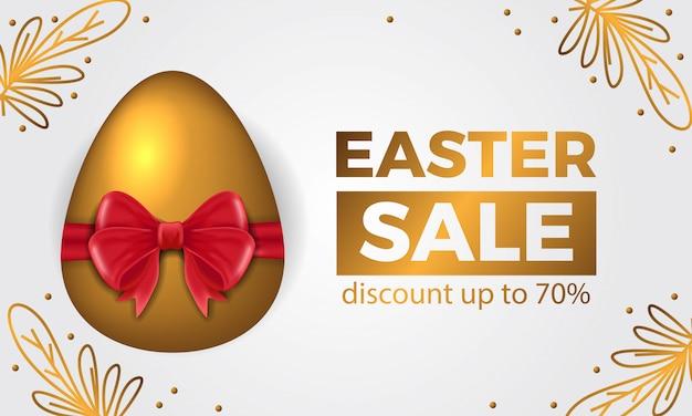 3d uovo d'oro con nastro rosso per banner di offerta di vendita di pasqua Vettore Premium