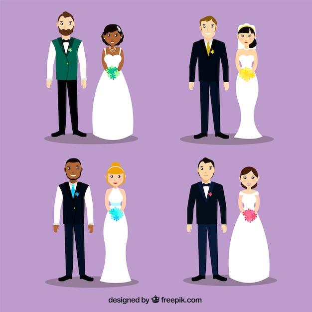 4 belle coppie di nozze, sfondo viola Vettore gratuito