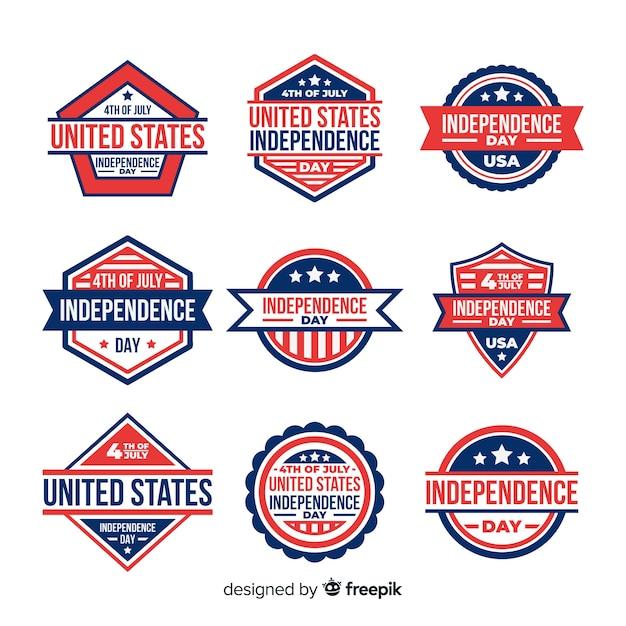 4 luglio collezione di badge Vettore gratuito