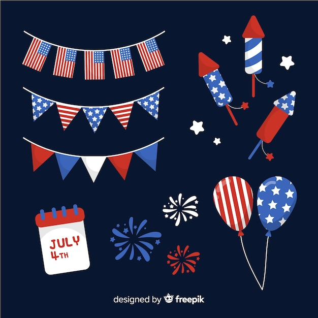 4 luglio - collezione di elementi per l'indipendenza Vettore gratuito