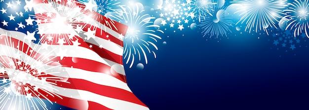 4 luglio disegno del fondo di giorno di indipendenza degli sua della bandiera americana con i fuochi d'artificio Vettore Premium