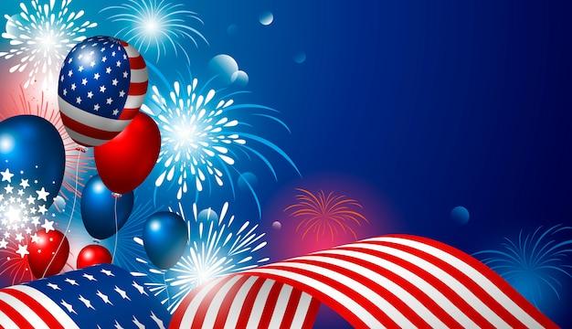 4 luglio disegno di festa dell'indipendenza usa della bandiera americana con fuochi d'artificio Vettore Premium