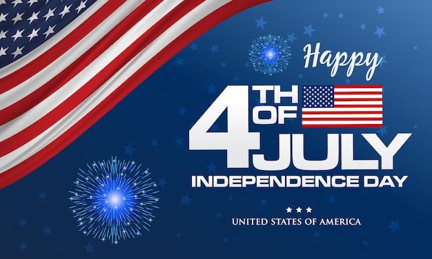 4 luglio. felice giorno dell'indipendenza dell'america sfondo con sventolando bandiera e fuochi d'artificio Vettore Premium