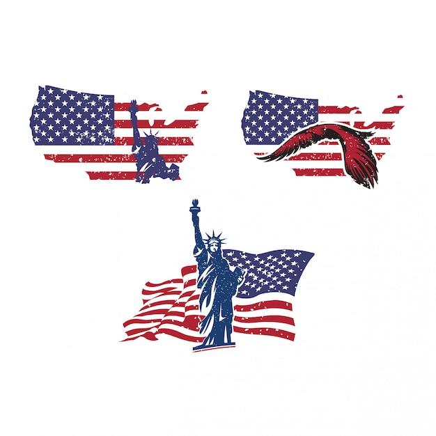 4 luglio festa dell'indipendenza americana Vettore Premium