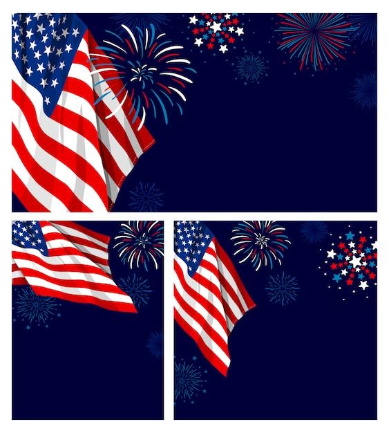 4 luglio festa dell'indipendenza usa Vettore Premium