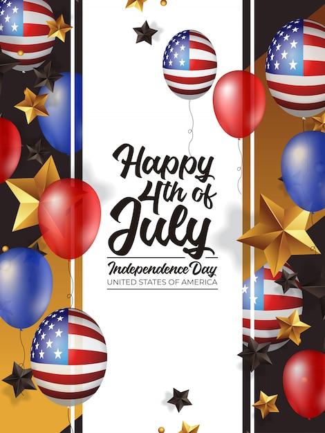 4 luglio giorno dell'indipendenza america con palloncino realistico Vettore Premium