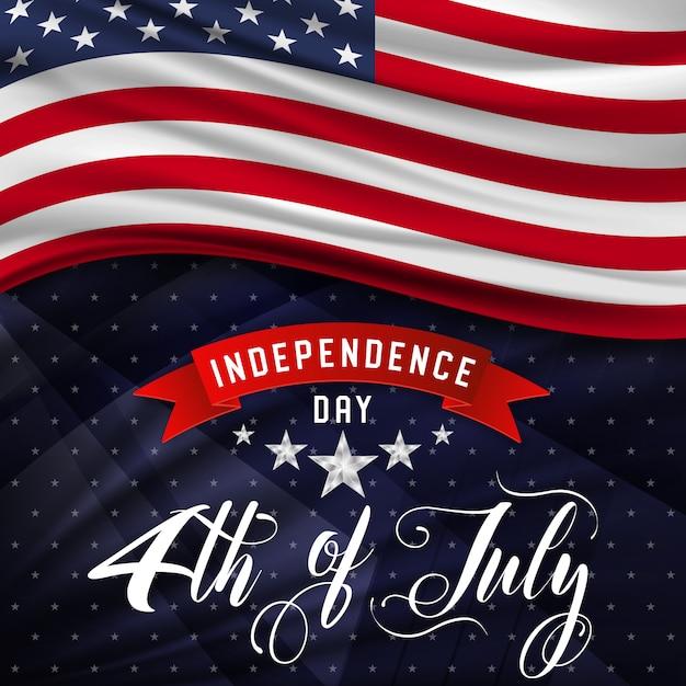 4 luglio giorno dell'indipendenza degli stati uniti Vettore Premium