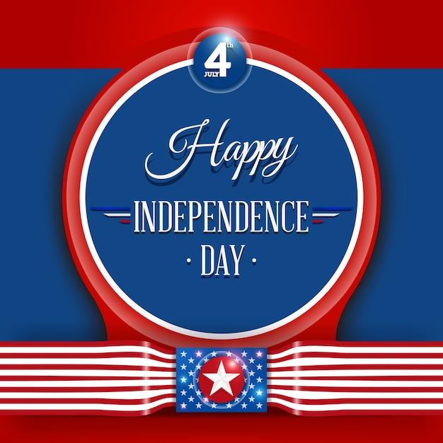 4 luglio giorno dell'indipendenza Vettore Premium