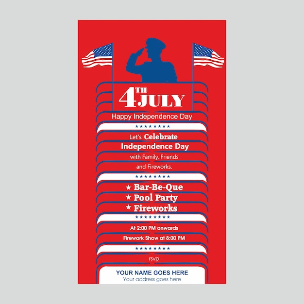 4 luglio modello di invito giorno dell'indipendenza degli stati uniti con barbecue, festa in piscina e attrazione di fuochi d'artificio. Vettore Premium