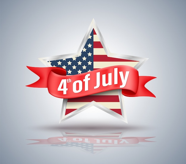 4 luglio nastro rosso con stella usa Vettore Premium