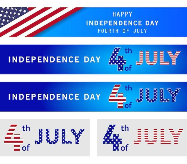 4 luglio set di banner di vacanza. american independence day, sfondo blu navy. giorno della memoria Vettore Premium
