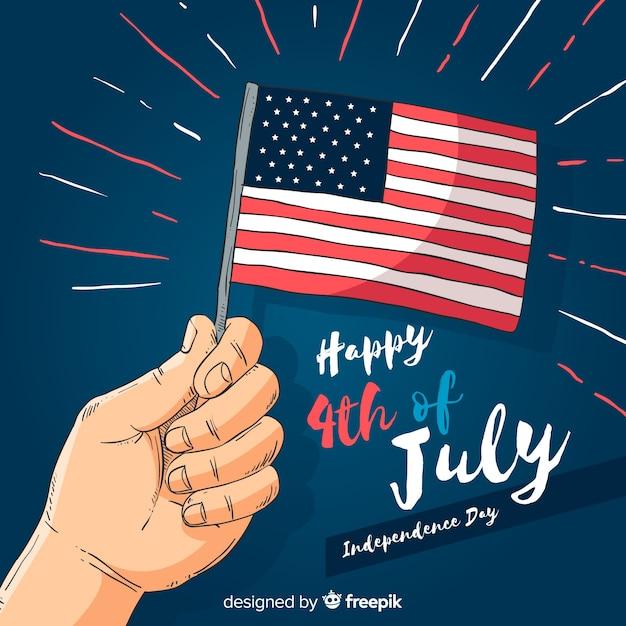 4 luglio - sfondo del giorno dell'indipendenza Vettore gratuito