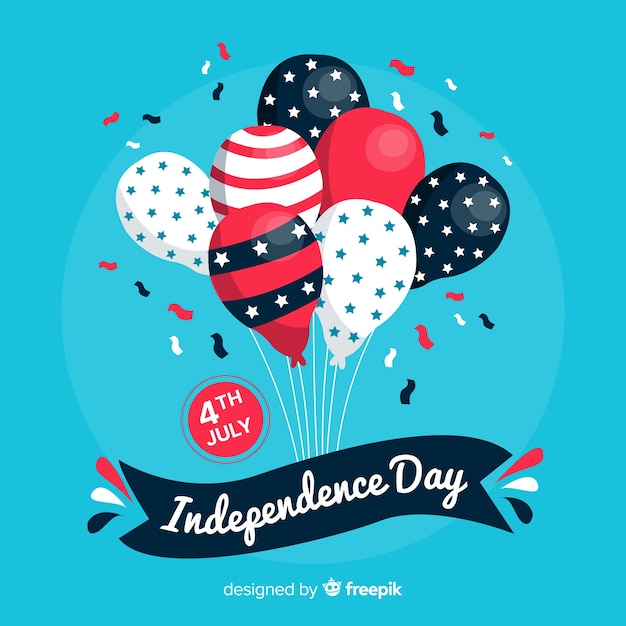 4 luglio - sfondo del palloncino del giorno dell'indipendenza Vettore gratuito