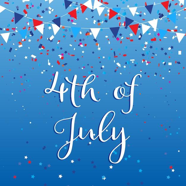 4 luglio usa con bandiere e coriandoli Vettore gratuito