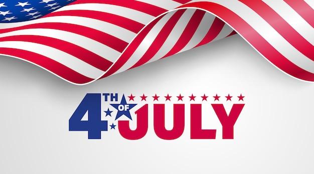 4 luglio usa festa dell'indipendenza con bandiera americana. Vettore Premium