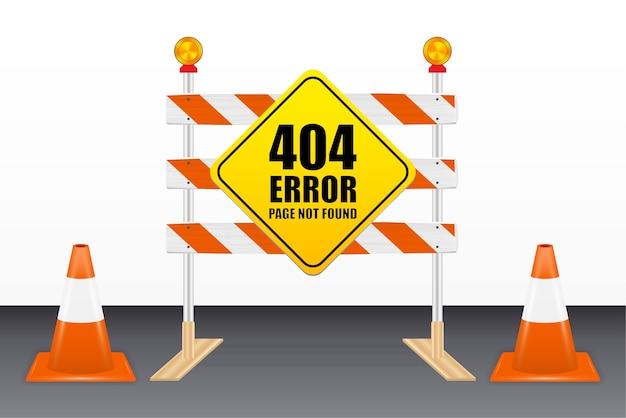 404 pagina di errore non trovata sugli strumenti del blocco stradale Vettore Premium