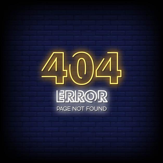 404 pagina di errore non trovata testo stile insegne al neon Vettore Premium