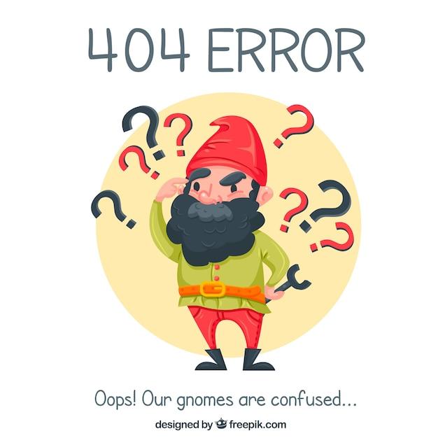404 sfondo di errore con gnome piacevole Vettore gratuito
