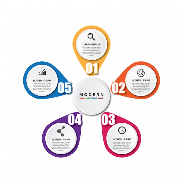5 modello di infografica circolare opzioni o passaggi. Vettore Premium