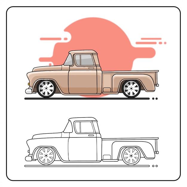 57 camion facile editabile Vettore Premium