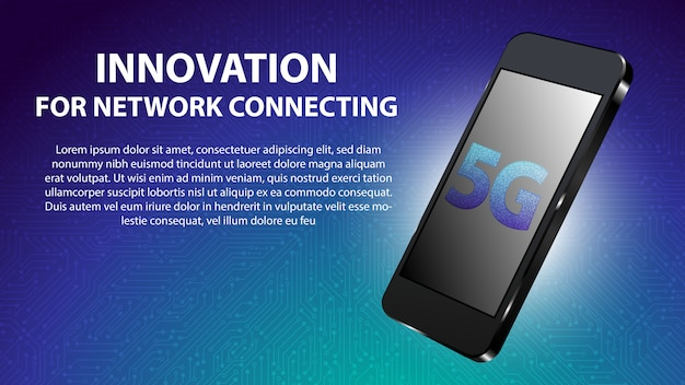 5g innovazione per il collegamento della rete in background Vettore Premium