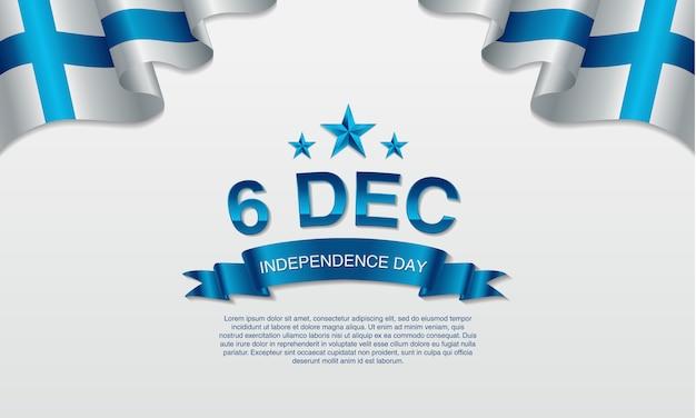 6 dicembre, finlandia, battenti e bandiera sventolante. Vettore Premium