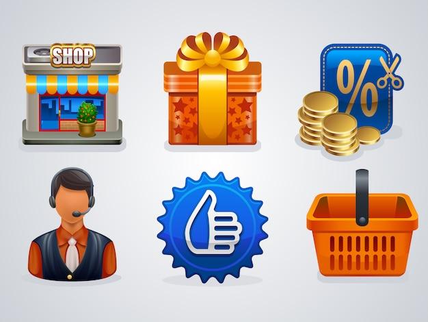 6 icone dello shopping Vettore Premium