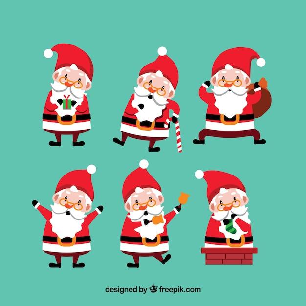 Immagini Simpatiche Di Babbo Natale.6 Personaggi Divertenti Di Babbo Natale Scaricare Vettori