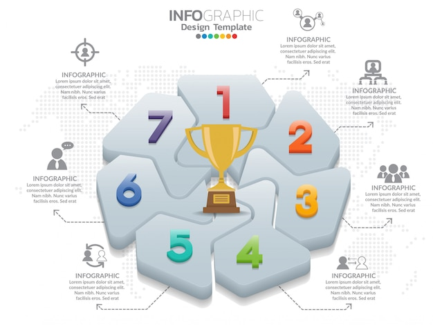 7 parti infographic vector design e marketing icone e numero Vettore Premium